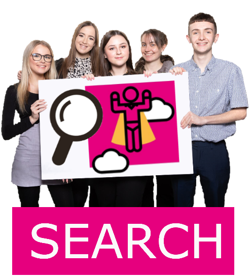Search icon surrounded by young people